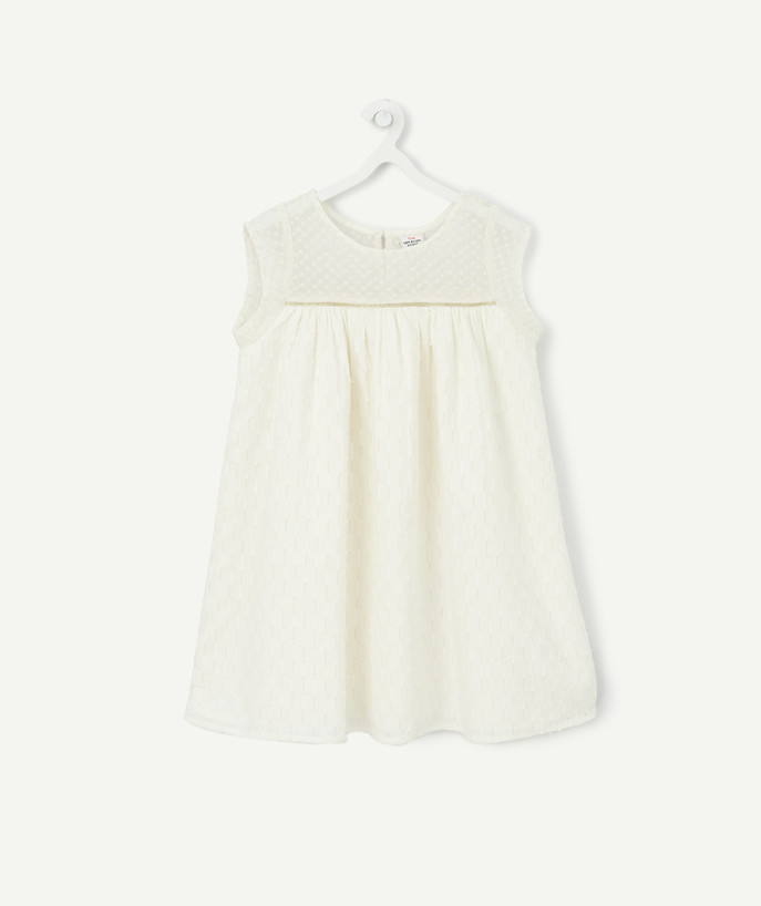 Dress radius - WHITE DRESS WITH TRANSPARENT EMBROIDERY