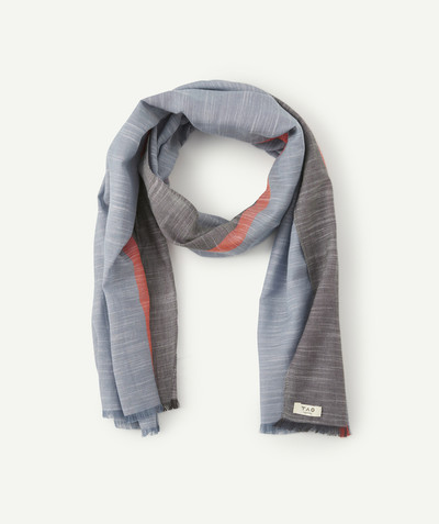All collection radius - TRI-COLOURED SCARF WITH FRAYED EDGES