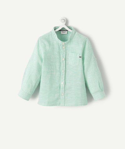 All collection radius - GREEN SHIRT IN LINEN AND COTTON