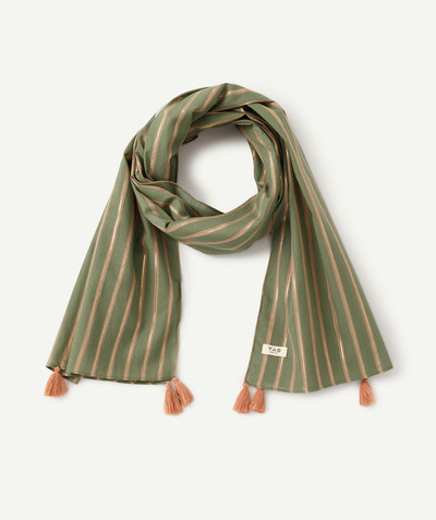 All Collection radius - SCARF WITH SHINY STRIPES AND TASSELS