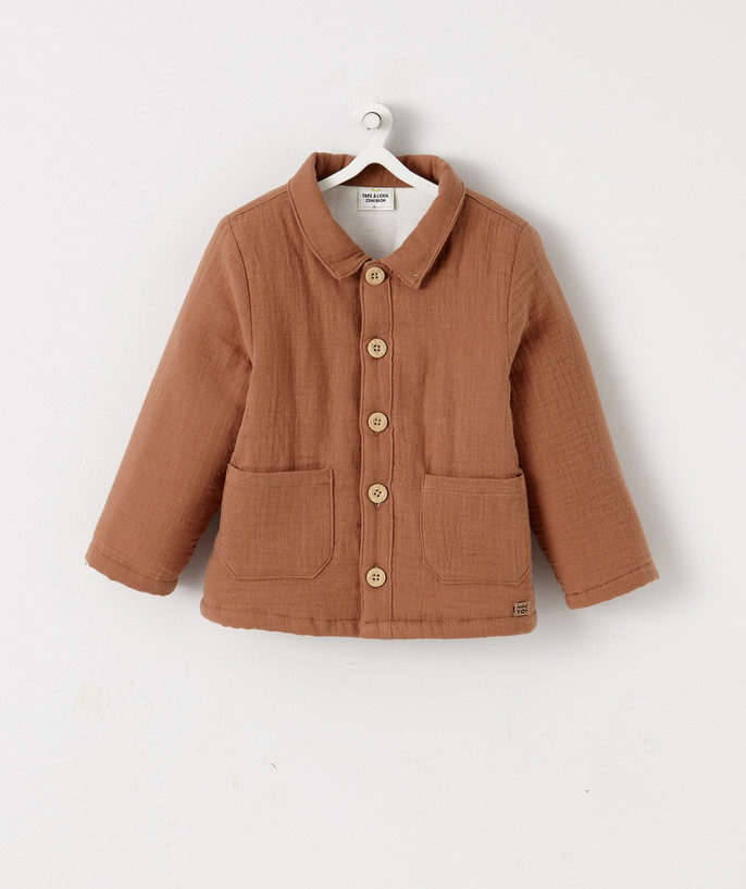 Coat - Padded Jacket - Jacket radius - LINED JACKET IN CAMEL-COLOURED MUSLIN