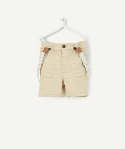 Shorts - Bermuda shorts family - BEIGE BERMUDA SHORTS WITH BRACES
