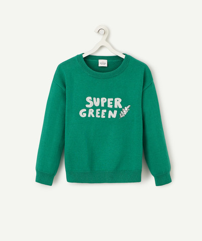 Outlet radius - GREEN JUMPER WITH SEQUINS AND GLITTER