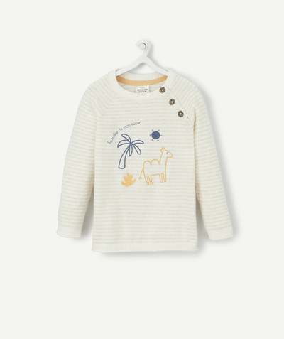 All collection radius - STRIPED BEIGE JUMPER WITH EMBROIDERED DESIGNS
