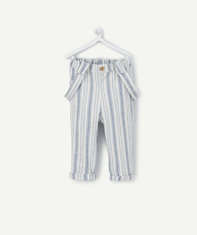 All collection radius - STRIPED LINEN MIX TROUSERS WITH BRACES