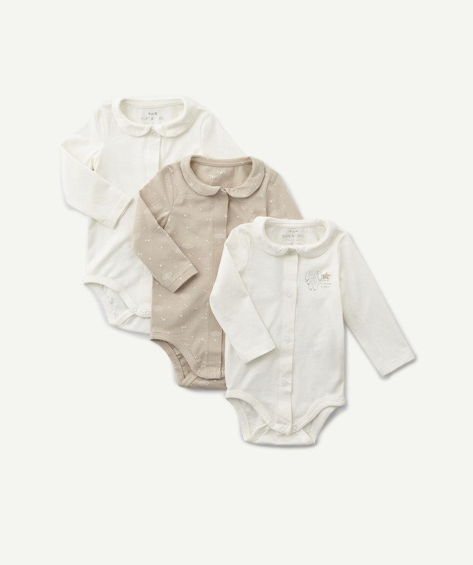 Bodysuit radius - THREE ORGANIC COTTON BODIES WITH PETER PAN COLLARS