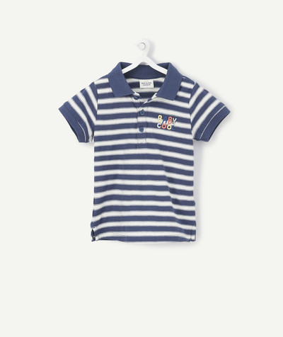 Shirt and polo radius - STRIPED BLUE AND WHITE POLO SHIRT WITH EMBROIDERY