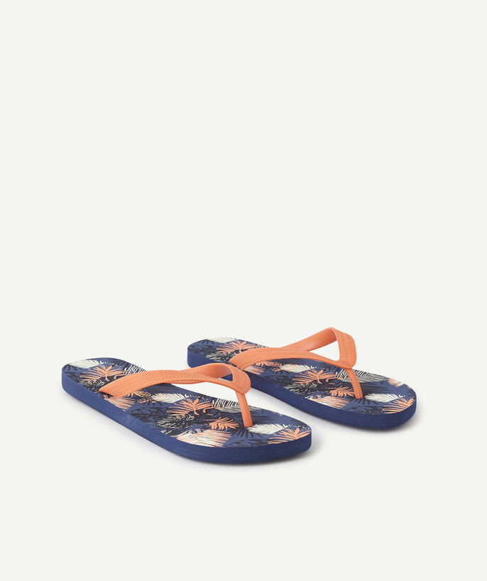 Shoes, booties radius - NAVY BLUE FLIP-FLOPS WITH A FLUORESCENT PRINT