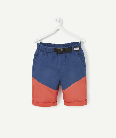 Outlet radius - STRAIGHT COLOUR BLOCK BERMUDA SHORTS WITH BELT