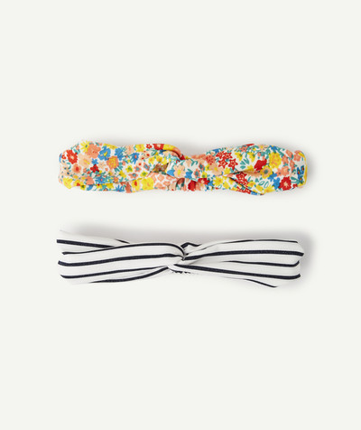 Baby-girl radius - SET OF TWO KNOTTED HAIR BANDS, STRIPED AND FLOWER-PATTERNED