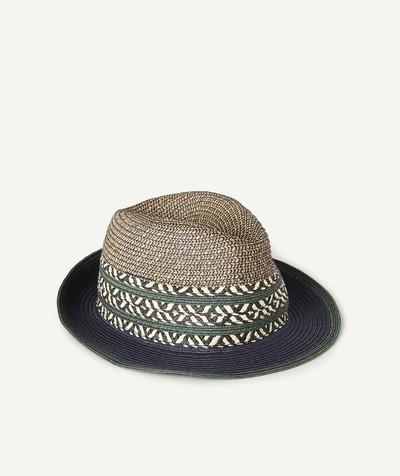 Accessories radius - NAVY BLUE AND GREEN STRAW TRILBY HAT