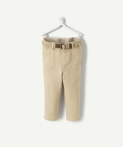 Special Occasion Collection radius - BEIGE CHINO TROUSERS IN LINEN AND VISCOSE WITH A BELT