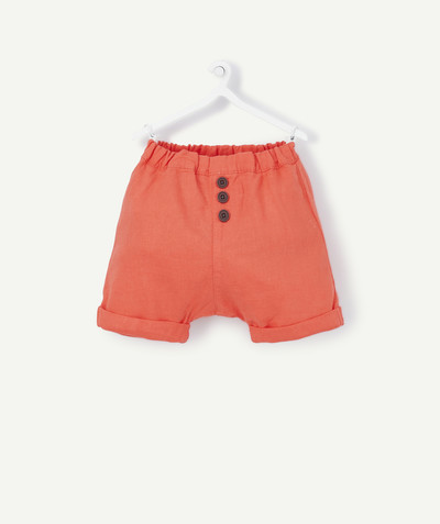 Shorts - Bermuda shorts family - STRAIGHT CORAL BERMUDAS IN LINEN AND COTTON