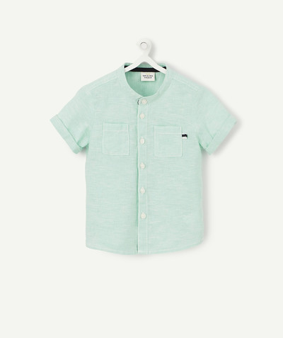 Shirt and polo radius - GREEN SHIRT WITH GRANDAD COLLAR IN ORGANIC COTTON