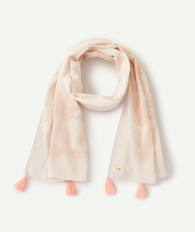 All Collection radius - PINK SCARF WITH FLOWERS AND TASSELS