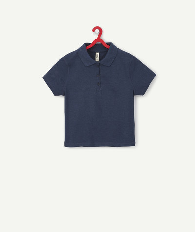 All collection Sub radius in - NAVY BLUE CROPPED RIBBED POLO SHIRT