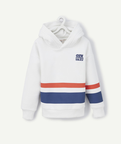 Sweat Rayon - LE SWEAT BLANC RAYÉ AVEC CAPUCHE