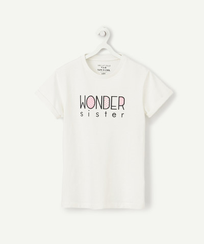 Family gets bigger capsule radius - CREAM WONDER SISTER T-SHIRT IN ORGANIC COTTON