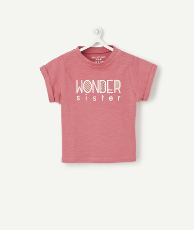 Family gets bigger capsule radius - PINK WONDER SISTER T-SHIRT IN ORGANIC COTTON WITH POPPERS