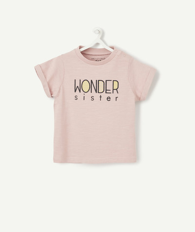 Family gets bigger capsule radius - PALE PINK WONDER SISTER T-SHIRT IN ORGANIC COTTON WITH POPPERS