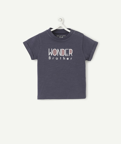 Family gets bigger capsule radius - NAVY BLUE WONDER BROTHER T-SHIRT IN ORGANIC COTTON WITH POPPERS