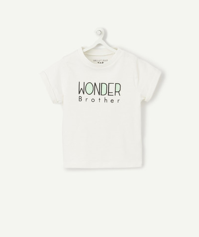 ECODESIGN radius - CREAM WONDER BROTHER T-SHIRT IN ORGANIC COTTON WITH POPPERS