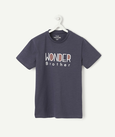 Family gets bigger capsule radius - NAVY BLUE WONDER BROTHER T-SHIRT IN ORGANIC COTTON