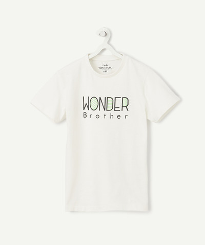 Family gets bigger capsule radius - CREAM WONDER BROTHER T-SHIRT IN ORGANIC COTTON