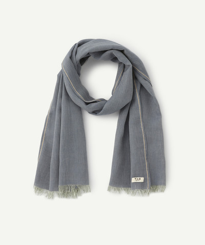 Outlet radius - BLUE SCARF WITH FRAYED EDGES