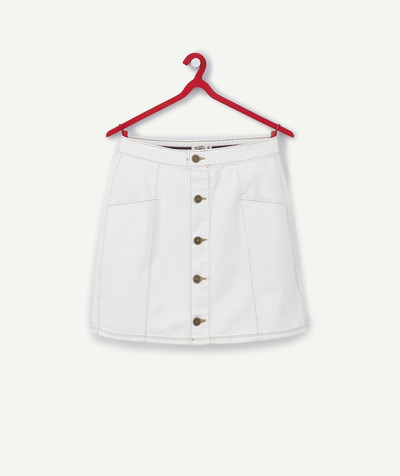 All collection Sub radius in - WHITE DENIM SKIRT WITH INSET PANELS