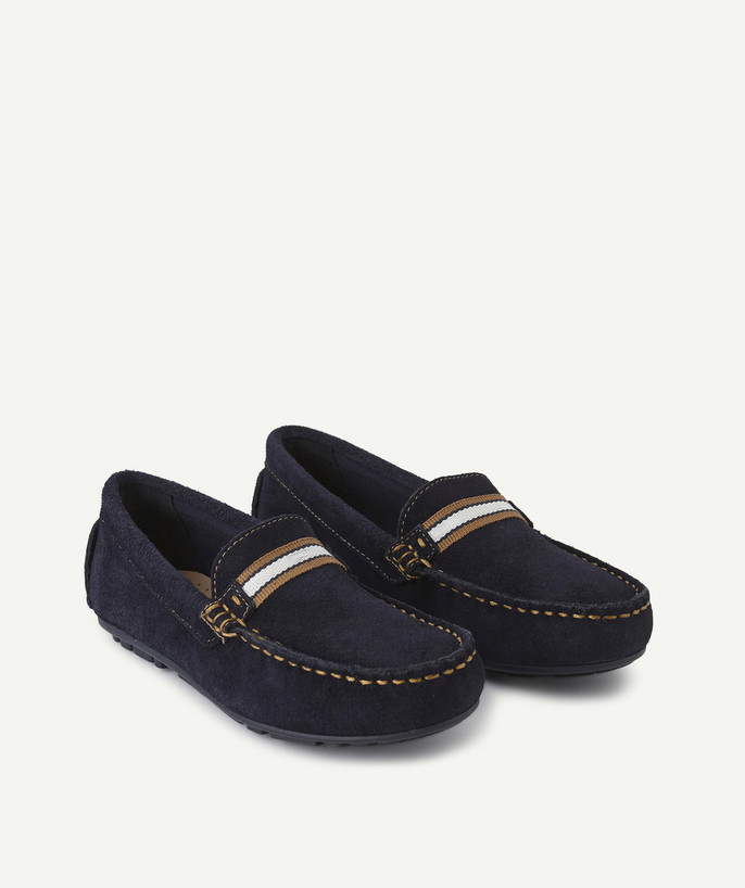 Shoes, booties radius - NAVY BLUE LEATHER MOCCASINS