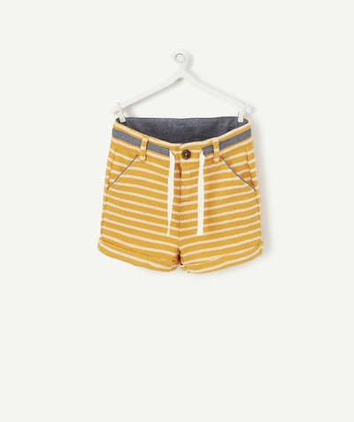 Shorts - Bermuda shorts family - YELLOW AND WHITE STRIPED BERMUDA SHORTS