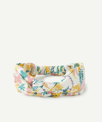 Baby-girl radius - CROSSOVER HAIRBAND WITH A FLOWER PATTERN