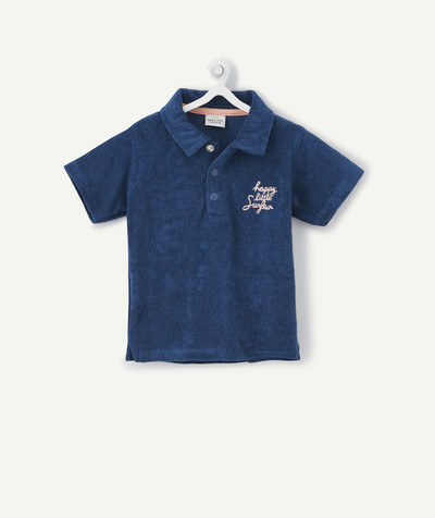 Shirt and polo radius - BLUE POLO SHIRT IN TOWELLING