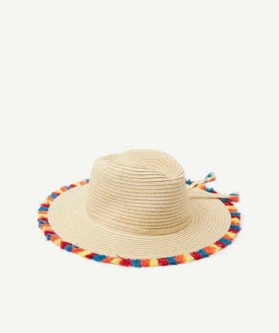 All Collection radius - STRAW HAT WITH COLOURED POMPOMS