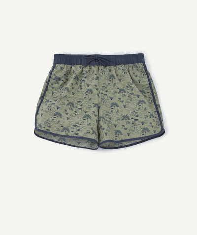 Swimwear family - KHAKI PRINT SWIM SHORTS IN RECYCLED FIBRES