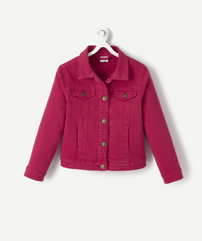 Coat - Padded jacket - Jacket radius - JACKET IN RASPBERRY-COLOURED DENIM