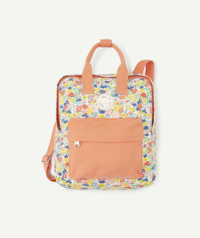Baby-girl radius - PINK FLOWER-PATTERNED BACKPACK