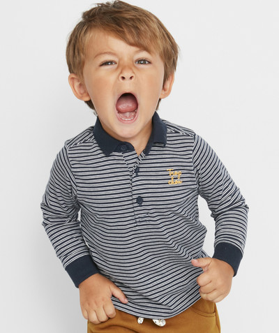 Shirt and polo radius - NAVY BLUE STRIPED POLO SHIRT WITH LONG SLEEVES