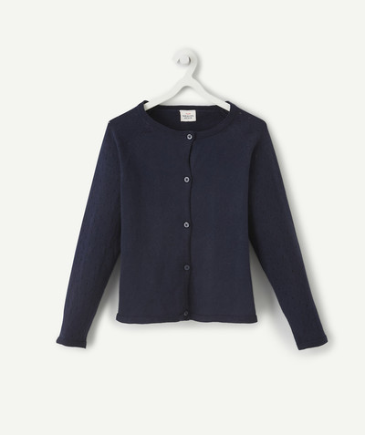 Basics radius - NAVY BLUE OPENWORK KNIT CARDIGAN