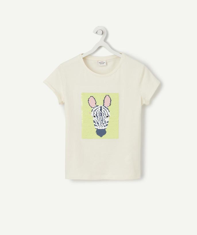 T Shirt fille à Sequins réversibles Jaune 100/% Coton modèle Papillon